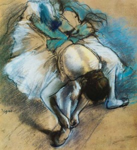 'Dancer When Lacing' by Edgar Degas