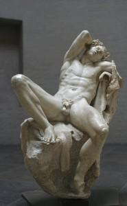 'Barberini Faun' or 'Sleeping Satyr',Roman marble copy of Greek bronze original ca. 220 BCE. Rome, Italy.